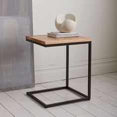 Box Frame C-Base Side Table - Rustic Mango/Antique Bronze