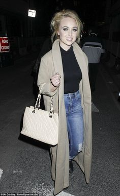 Chic: Jorgie Porter looked cool in distressed jeans as she and Hollyoaks co-star Jennifer Metcalfe turned out for the live recording of TFI Friday Georgie Porter, Tfi Friday, Made In Chelsea, Hollyoaks, Camel Coat, Distressed Jeans, Autumn Fashion, Glamour, Female