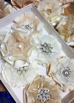 fabric flowers - with the broach, maybe a neat corsage idea?