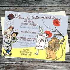 Follow the Yellow Brick Road, The Wizard of Oz, Landscape Birthday Party Invitations, Printable