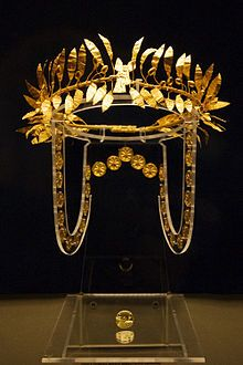 A golden wreath and ring from the burial of an Odrysian Aristocrat at the Golyamata Mogila in the Yambol region of Bulgaria. Mid 4th century BCE.