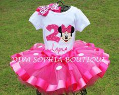 Rosa personalizada Minnie Mouse Set de Tutu por DivaSophiaBoutique