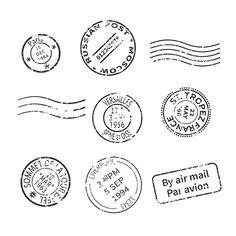 Vintage post stamps set  @creativework247