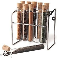 "Spice Rack - Glass Spice Tube Set (Silver) (7""h x 7""w x 4.25""d)"