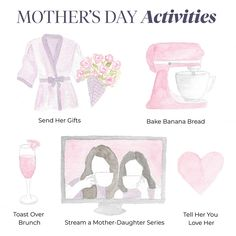 Make her day—in person or virtually together! 💐🍞🍹📺💗 🎨 Illustration by our graphic designer & artist Mother's Day Activities, Bra And Panty Sets, Positive Attitude, Love Her, Mom, Dancing, How To Make, Random, Instagram