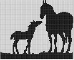 Horse Family Cross Stitch Pattern
