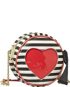 Betsey Johnson HEART CUT OUT CROSSBODY BLACK-WHITE