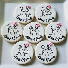 Stick Figure Engagement Cookie - Two Dozen (24) by MyDolceBakery on Etsy