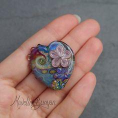 Rainbow Garden Heart shaped purple flower Swirls by MadelineBunyan