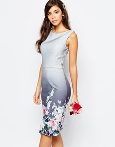 Image 1 of Chi Chi London Midi Pencil Dress in Sateen in Floral Print