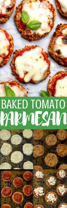 I am absolutely obsessed with this baked tomato Parmesan. Beefsteak tomatoes, crunchy Parmesan panko bread crumbs, melted Parmesan cheese and tomato sauce!  What can be better than that?  This vegetarian dish is so delicious! A perfect and kid friendly weeknight... #dinner #lunch #parmesancheese