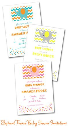 Chevron and Elephant Baby Shower Invitations from TheInvitationShop.com