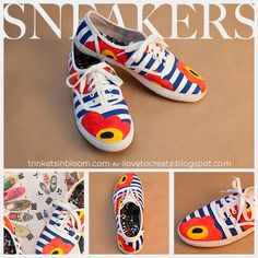 bemalte Stoffschuhe; painted shoes