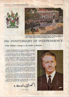 anniversary of UDI Zimbabwe History, Zimbabwe Africa, John Rhodes, Ian Smith, Tenth Anniversary, All Nature, Ol Days, African History, Good Ol