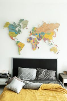 Colorful Wooden World Map by GaDenMap. Travel map for wall decor in office room, bedroom, living room, kid's room decorating. Custom MDF World Map for Home and Office Décor, World Map Wall Mural #worldmap #walldecor #kitchenwalldecor