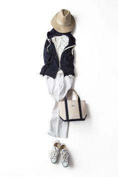 パーカに〝エレガントさ〟を効かせて 2015-04-03 | hoodie price :31,320 brand : STRASBURGO | hat brand : Adam et Rope'