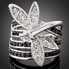 Lovely Dragonfly Swarovski Crystal Gold GP Fashion Ring