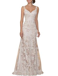 Ice Beauty V-Neck Lace Shoulder Straps Sweep Train Wedding Dresses Bridal Gowns Ivory US 6 Ice Beauty http://www.amazon.com/dp/B01A9NLS1M/ref=cm_sw_r_pi_dp_KbsWwb02WSCE8