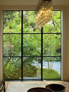 Landscape Architect Visit: Scott Lewis Turns A Small SF Backyard Into an Urban Oasis - Gardenista - scott lewis parkside san francisco garden view from dining room window - Garden Studio, House Design, Windows And Doors, Steel Windows, Garden Windows, Beautiful Backyards, Hardscape, Garden View, Window Design
