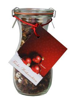 """Tee im Glas - Weihnachtstee Wintertee """"Frohe Weihnachten"""" in einer Weck® Flasche - 100 g Früchtetee: Amazon.de: Lebensmittel & Getränke"""