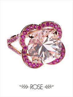 Fleur d'Amour ring by Mauboussin. Pink gold, morganite and pink sapphires. Instagram Mauboussin Singapore: https://instagram.com/p/0Ux090MJKJ/?taken-by=mauboussin_singapore