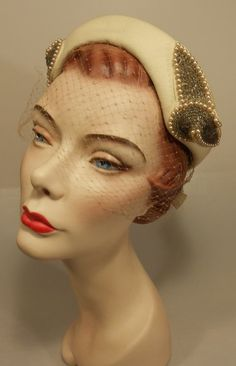 A Most Glamourous Life - Early 1950 French Room Ivory Felt & Beaded Juliette Hat w/Birdcage Veil