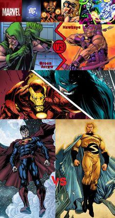 MARVEL VS DC: Ms.Marvel vs Wonder Woman/ Silver Surfer vs Green Lantern /Hawkeye vs Green Arrow/ Iron Man vs Batman/Superman vs The Sentry.