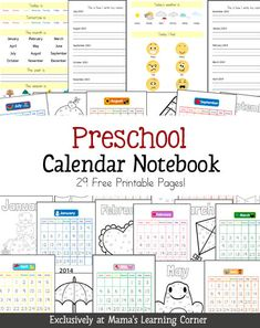 Preschool Calendar Notebook - Free download that includes monthly calendar, date recognition, day/month practice, daily weather, daily feelings.  Put in a page protector and use each day with your preschooler/Early K'er