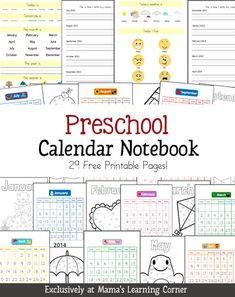 homeschool calendar, math notebooks, homeschool preschool calendar, free preschool, preschool printables, preschool math assessment, preschool homeschooling, calendar notebook, homeschool notebooking