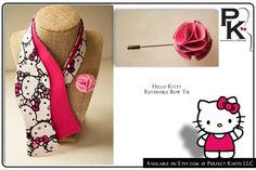 PK's Hello Kitty Reversible Bow Tie with Carnation Stick Pin