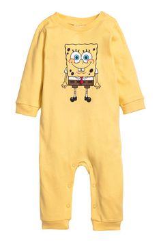 Printed all-in-one pyjamas - Yellow/SpongeBob - Kids | H&M 1