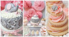 | Pink and Grey Chevron Elephant Baby Shower Dessert Table | www.cwdistinctivedesigns.com | www.candybuffetsnj.com | Featured on Pretty My Party | #desserttables #elephant #cake