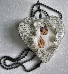 OOAK Handcrafted Collie Puppy Dog Altered Art Words Pendant by Bren
