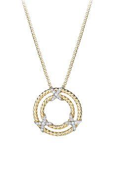 David Yurman 'X' Pendant Necklace with Diamonds in 18K Yellow Gold