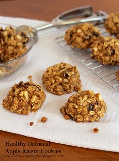 Healthy Oatmeal Apple Raisin Cookies are a skinny way to satisfy your sweet tooth! by www.whatscookingwithruthie.com #recipes #cookies