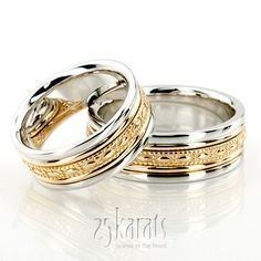 Sleek Antique Design Handmade Wedding Ring Set - I love two colour gold wedding bands