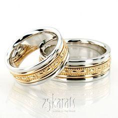 Sleek Antique Design Handmade Wedding Ring Set - I love two colour gold wedding bands