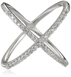 Sterling Silver Cubic Zirconia Criss Cross Stackable Ring * Additional details at the pin image, click it  : Jewelry Rings Stacking