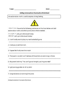 These Exclamation Marks worksheets are great for working with Exclamation Marks. Use these Exclamation Marks worksheets for the beginner or intermediate levels. Punctuation Worksheets, Worksheets For Grade 3, Grammar And Punctuation, 3rd Grade Spelling, Interpersonal Communication, Exclamation Mark, Sentence Writing, Quotation Marks, Printable Birthday Invitations
