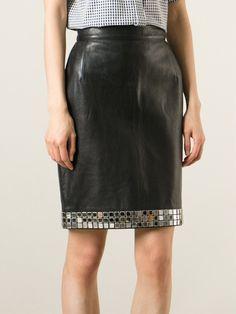 MOSCHINO VINTAGE mirror bead embellished skirt