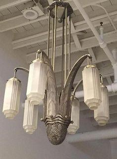 1 of a kind: majestic french art deco chandelier. Lampe Art Deco, Art Deco Decor, Art Deco Stil, Art Deco Chandelier, Art Deco Home, Art Deco Lighting, Art Deco Design, Vintage Lighting, Decoration