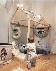 Love this bed frame! I think I could DIY this for Sophia's big girl room! Baby Bedroom, Baby Boy Rooms, Nursery Room, Kids Bedroom, Baby Decor, Kids Decor, Toddler Rooms, Toddler Bed, Ideas Habitaciones