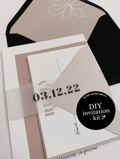 DIY Wedding Invitation Kit - for a modern, boho wedding. Includes printable invitation template, RSVP card, and details insert. Belly band template and printable envelope liner included, along with step-by-step directions on how to print!