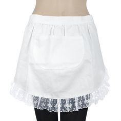 Aspire Lace Adult Half Apron, Cotton Cooking Apron Perfect for Coffee... ($4.59) ❤ liked on Polyvore featuring home, kitchen & dining, aprons, white waist apron, cotton apron, white lace apron, pocket apron and white cotton apron