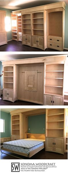 This set of craftsman home library shelves are hiding a smart secret: a murphy wall bed with a built in fold down table and LED lighting. by pauline Fold Down Beds, Fold Down Table, Murphy Bed Ikea, Murphy Bed Plans, Murphy Bed Office, Full Size Murphy Bed, Modern Murphy Beds, Library Shelves, Library Table