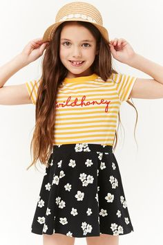 Girls Floral Skater Skirt (Kids) - April 20 2019 at Teen Winter Outfits, Trendy Outfits For Teens, Outfits With Hats, Summer Fashion Outfits, Outfits Teenager Mädchen, Teen Girl Outfits, Kids Outfits, Cute Outfits, Tween Fashion
