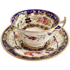 Stunning Coalport teacup, hand painted birds on cobalt blue, 1815-1820 : Gentle Rattle of China | Ruby Lane