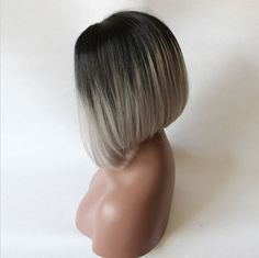 """12"""" SHORT BOB STRAIGHT LACE FRONT WIG SYNTHETIC HAIR BLACK AND GRAY COLOR"""