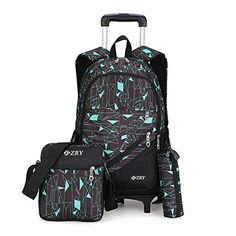 Free,Kids Rolling Backpack Wheeled Backpack for Boys 3pcs Rolling Luggage Backpack for School & Travel Six Wheels Trolley School Bags(Black-Blue)