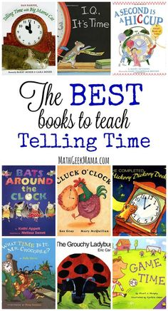 This list is packed with resources to teach time concepts to your kids! Help them understand the passing of time as well as how to tell time. This list also includes books on the history of time and clocks. Tons of fun and engaging ideas to help kids make Fun Math, Math Games, Math Activities, Math Resources, Math Books, Preschool Books, Kindergarten Books, Kindergarten Readiness, Teaching Time